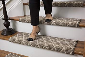 Stair treads carpet amazon.com: Jardin wool inspired bullnose carpet stair treads with self-adhesive padding QDVZDKL