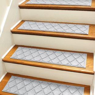 Stair treads carpet Aqua Shield gray Argyle stair treads (set of 4) NCHMJXG