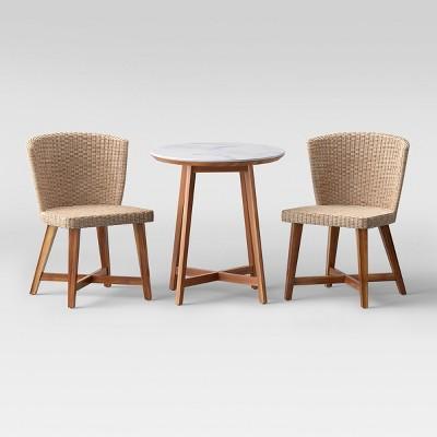 staton 3-piece wooden patio bistro set - light brown - smith u0026 hawken ™ PJYLZYW