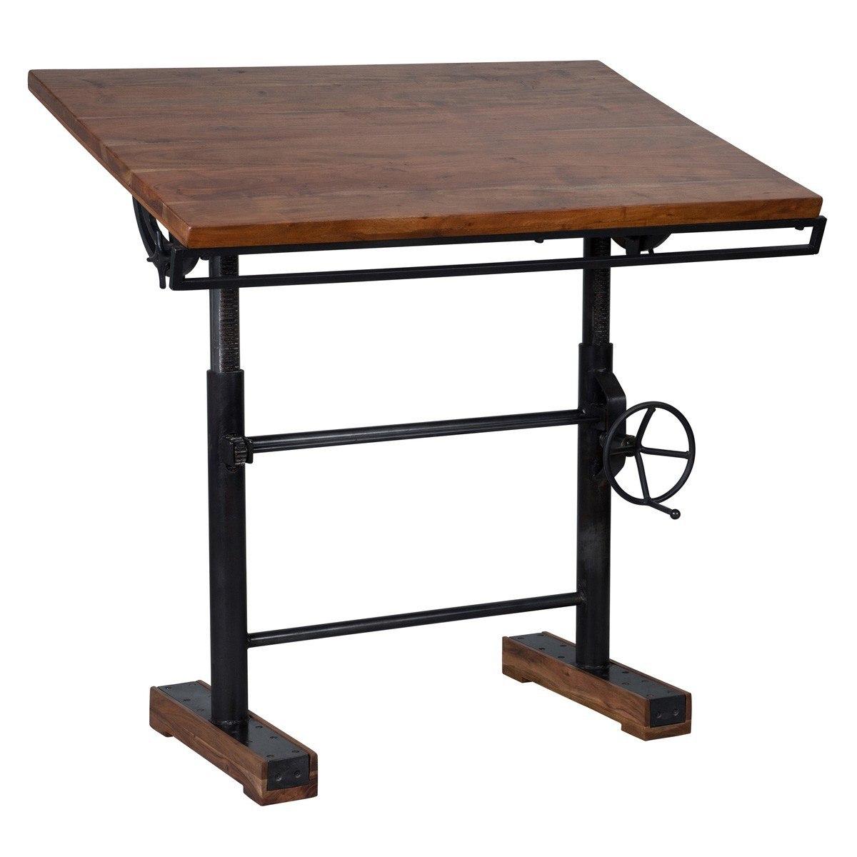 Steampunk industrial crank adjustable standing desk NVCKTJA