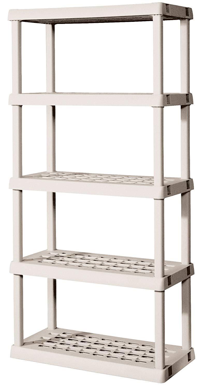 Storage shelves amazon.com: Sterilite 01558501 5-shelf element with shelves and legs made of light platinum: REUCGME