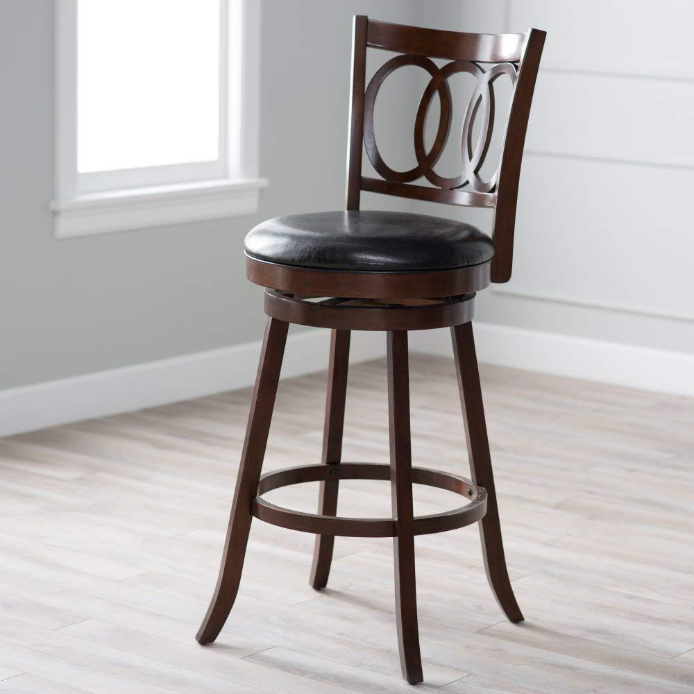 rotating bar stool amazon.com: belham living woodward extra-high rotating bar stool: kitchen & dining room QBPSRZT