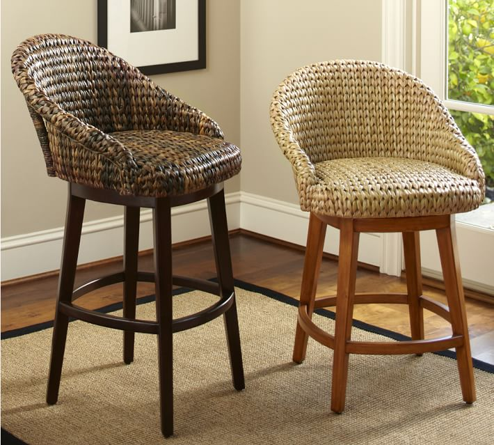 rotating bar stool Seagrass bucket rotating bar stool |  Pottery barn DYAVNRF
