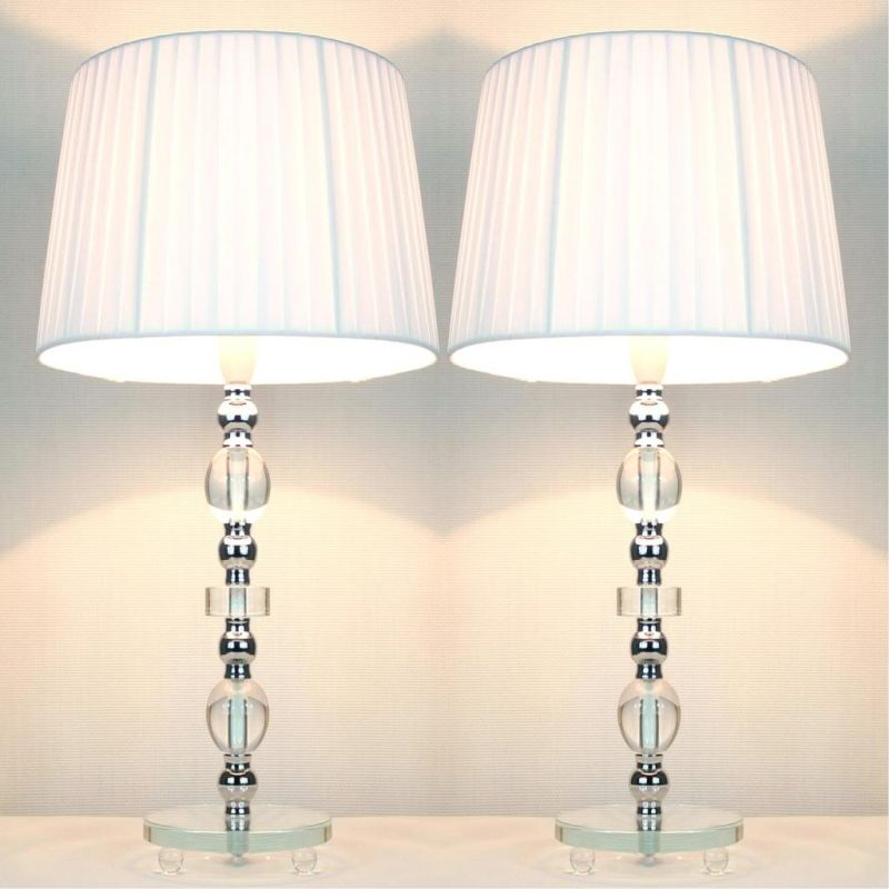 tall designer bedside lamps with white shades OQRIZFO