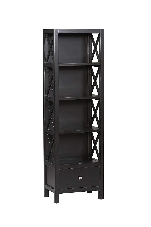 tall narrow bookcase amazon.com: linon anna collection tall narrow bookcase with 5 shelves: kitchen & dining room QBQUTZJ