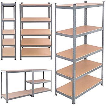tangkula 5-tire storage rack space-saving storage rack heavy-duty steel frame MZNHJXT