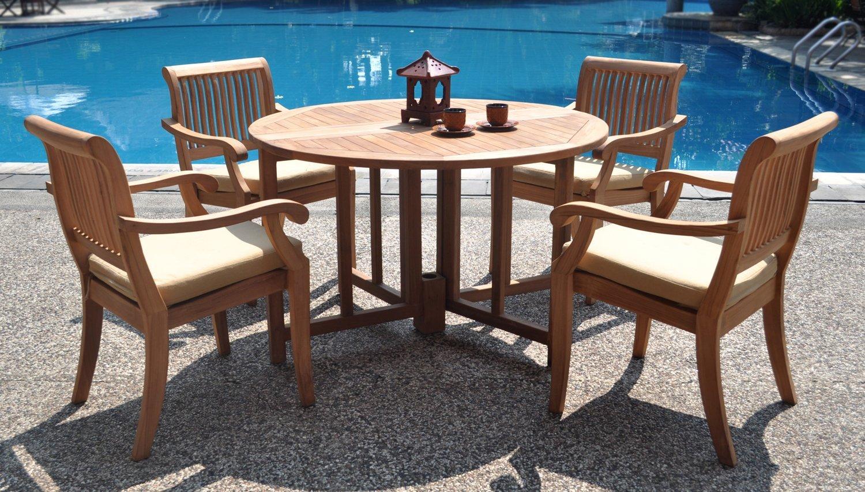 5-piece teak garden furniture.  Teak dining set 48 inch round table UHOEVJW