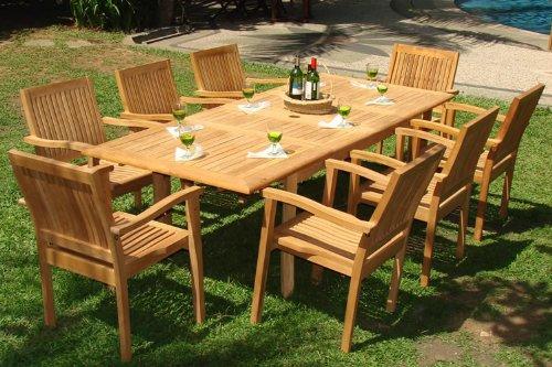Teak garden furniture 9-piece teak dining set CYHKMNU