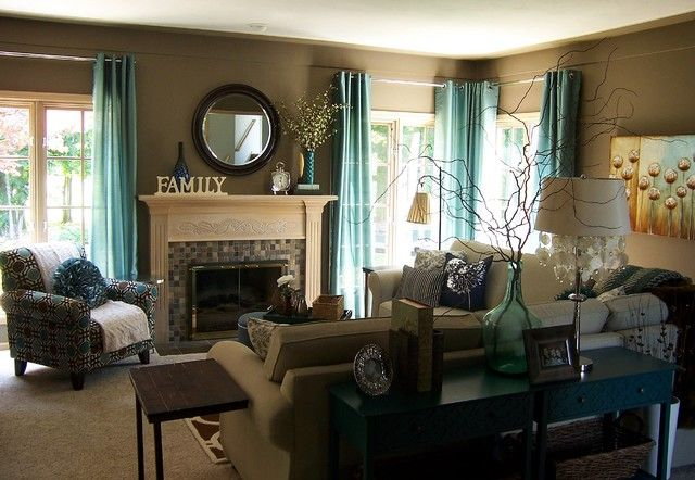 Living room with green accents, Green accents in a brown living room