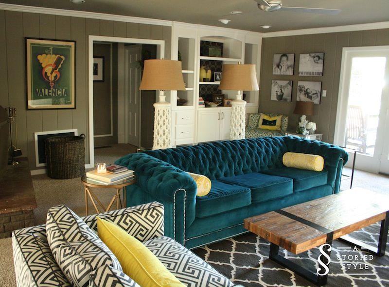 AStoryedStyle.com    Teal sofa living room, teal living room, teal.