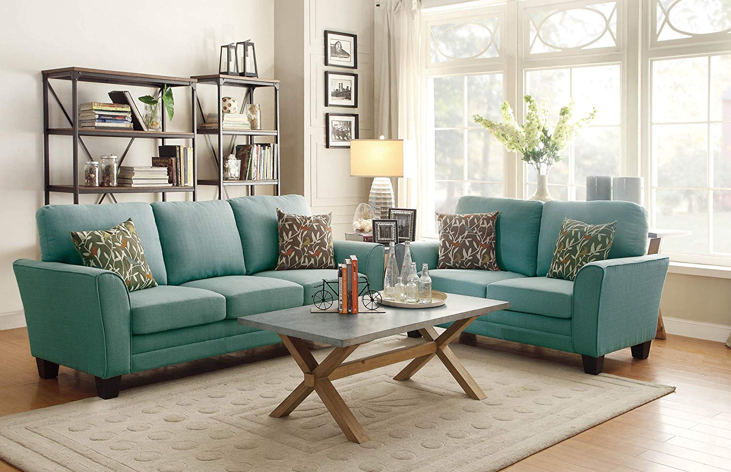 blue-green sofa amazon.com: homelegance 8413tl-3 fully upholstered with piping, linen-like fabric WSGSVGA