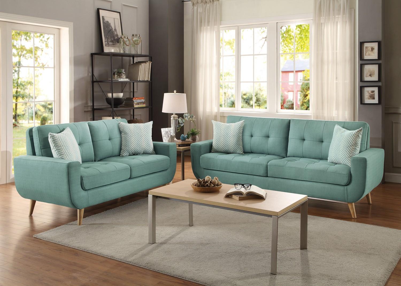 blue-green sofa deryn 2-piece sofa & two-seat sofa set - blue-green SQFBNND