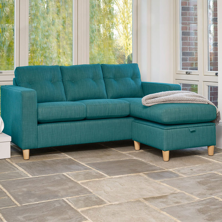turquoise sofa Metro fabric sofa chaise longue with storage space, blue-green UNGMWPF