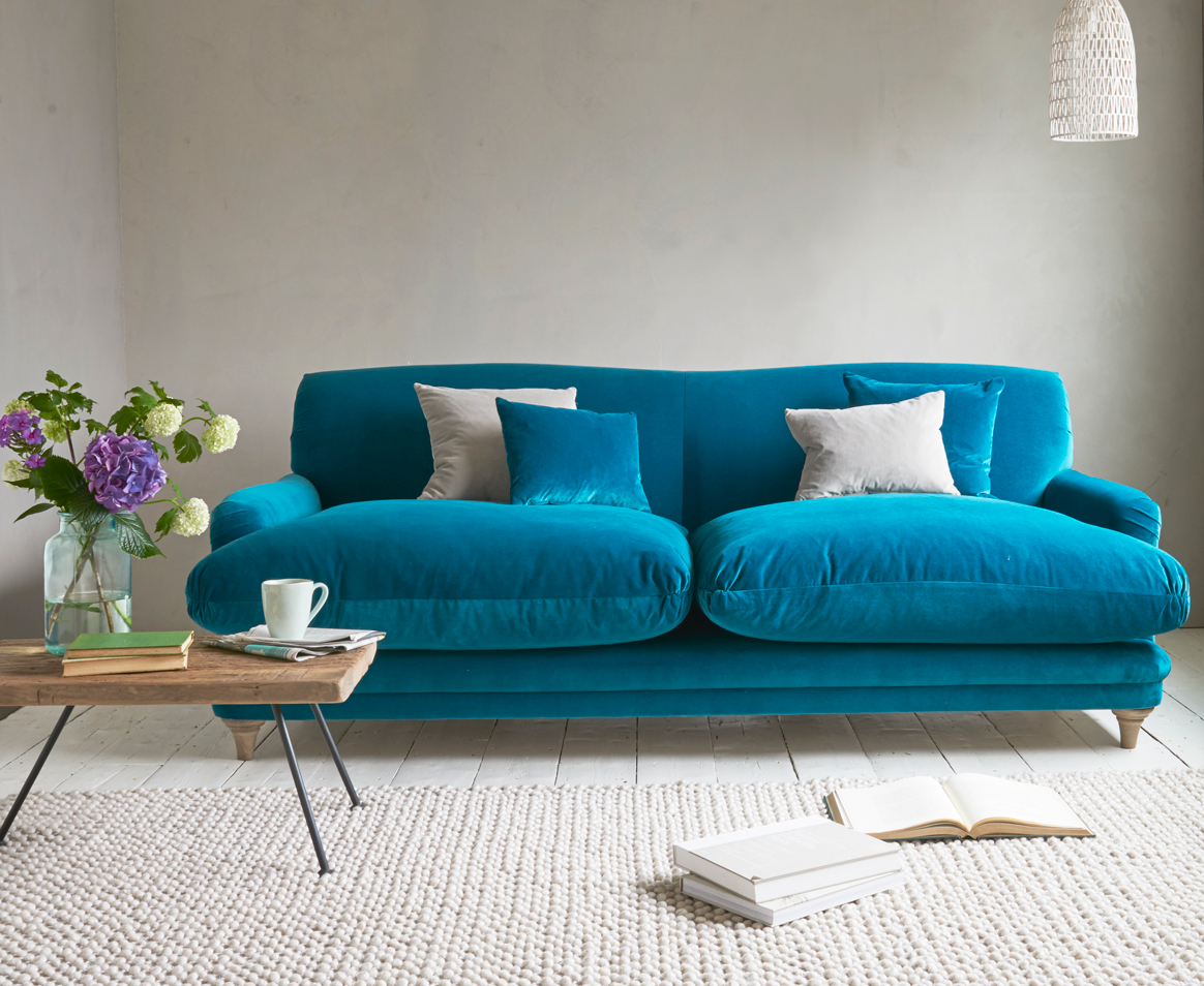 Teal Sofa Pudding Sofa in our real Teal Clever Velvet NDWLSLW
