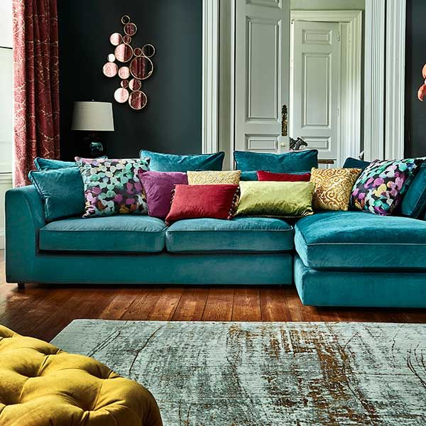 blue-green sofa the striking harrington large chaise sofa is a fantastic addition to a QNRVTJP
