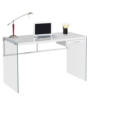 Tempered Glass Computer Desk - Glossy White - Everyroom GHLLJLH