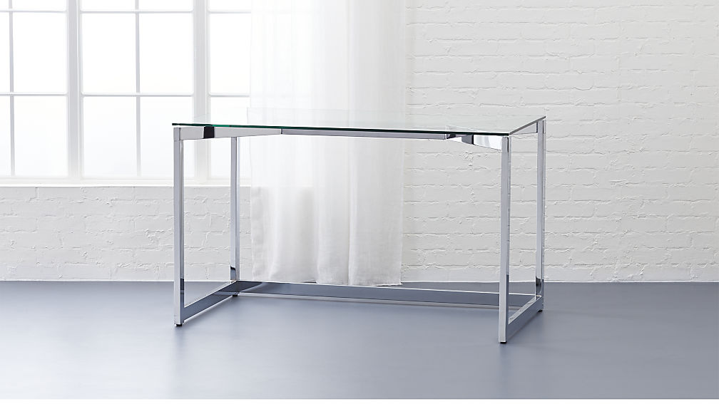 tesso desk made of chrome and glass |  cb2 DTUMYWH
