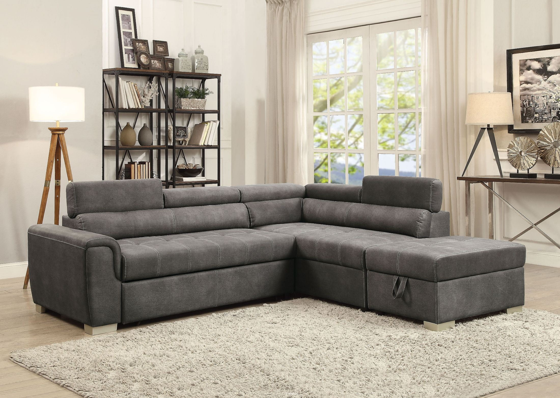 thelma gray polished pull-out sofa bed with ottoman by Acme    WMZUKQE