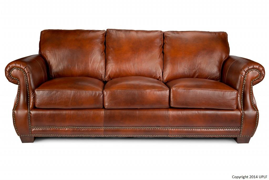 Traditional top grain leather sofa with nail head trim FERFTOX