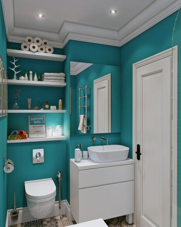 Small open living spaces |  Bathroom wall paints, teal.