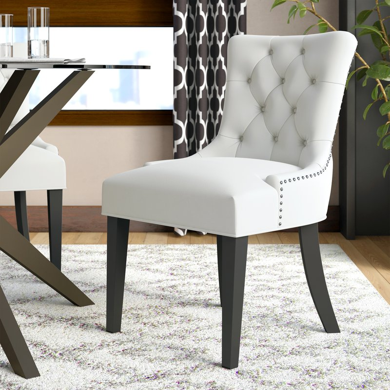 upholstered dining chairs Carlton wooden leg upholstered dining chair EAXYAII