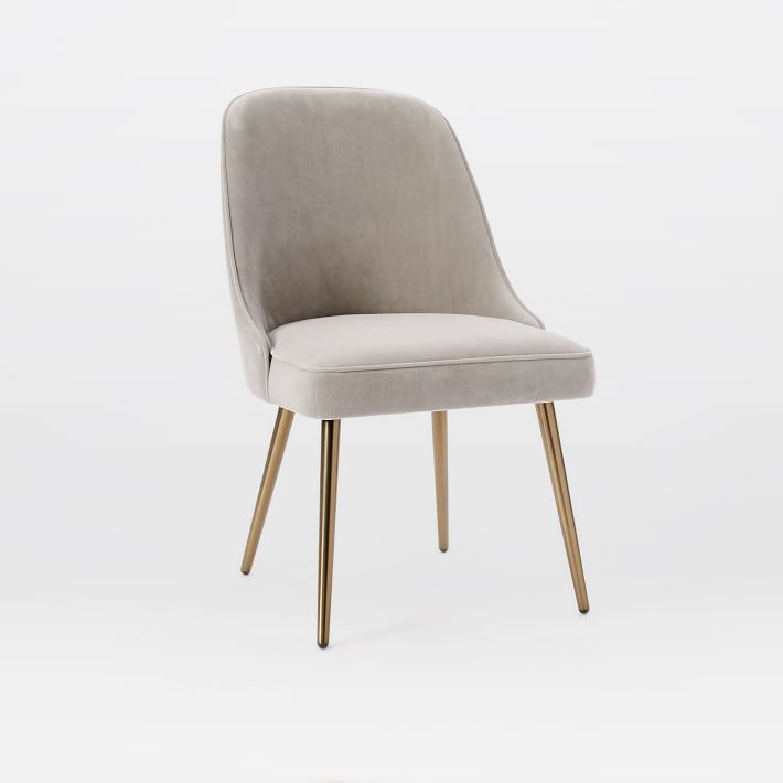 Upholstered Dining Chairs Mid-Century Velvet Dining Chair    West Elm IBZOXCG