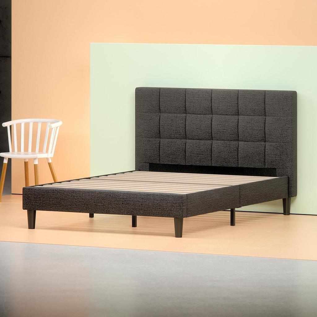 upholstered square stitched platform bed frame - angle shot HZOTDUR