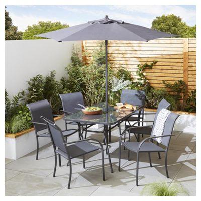 valencia 8-piece metal garden dining set RQEYUYK