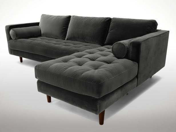 Velvet sofas 2. gray tufted section GAOTIVG