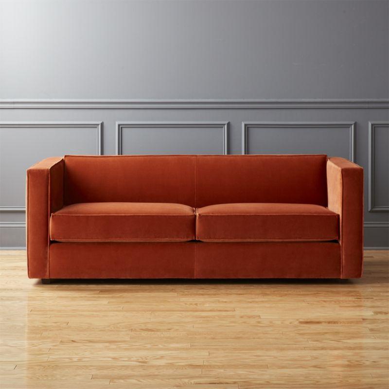 Velvet sofas Club rust velvet sofa KKJHXAF