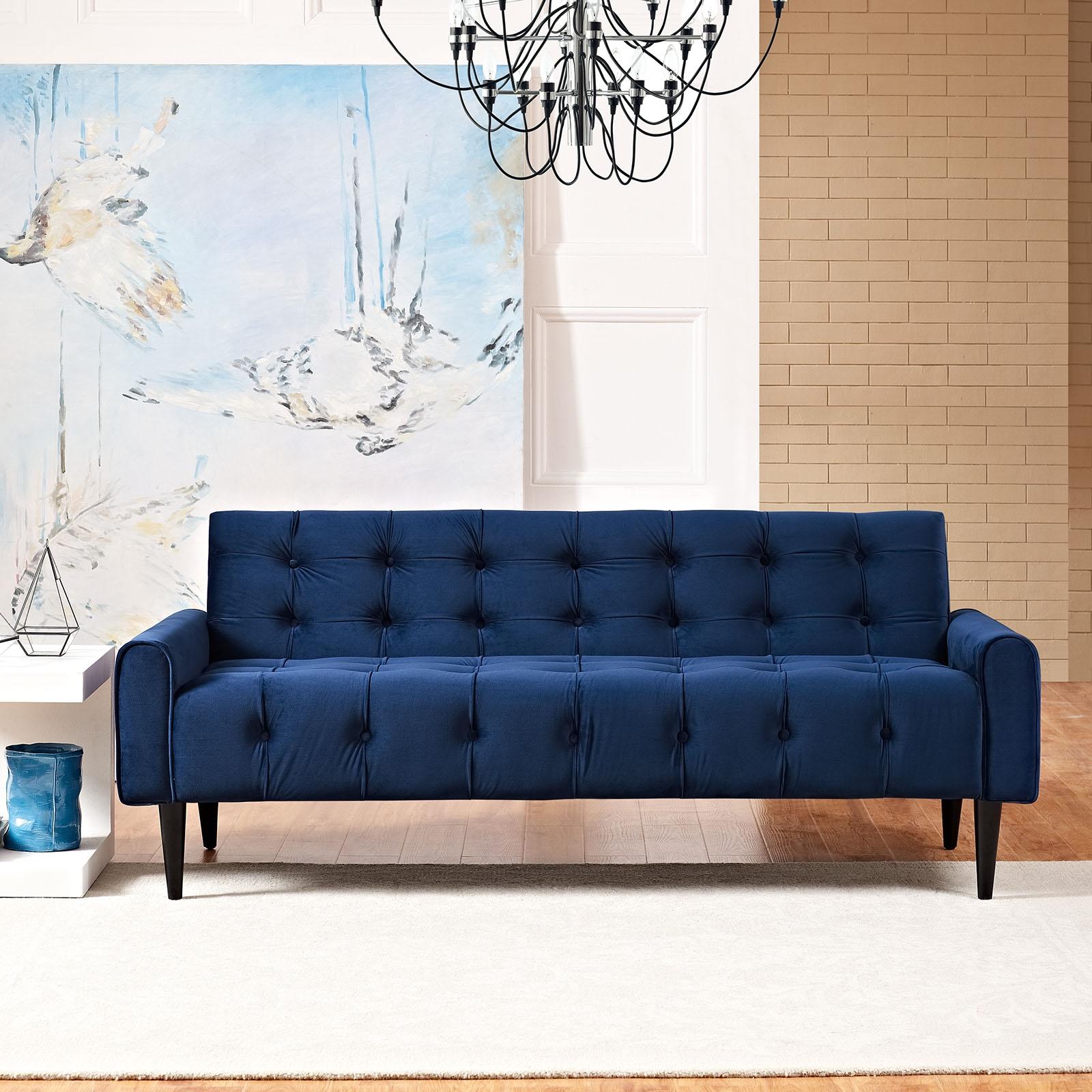 Velvet sofas ... delve velvet sofa in navy - lifestyle ... XINGREL