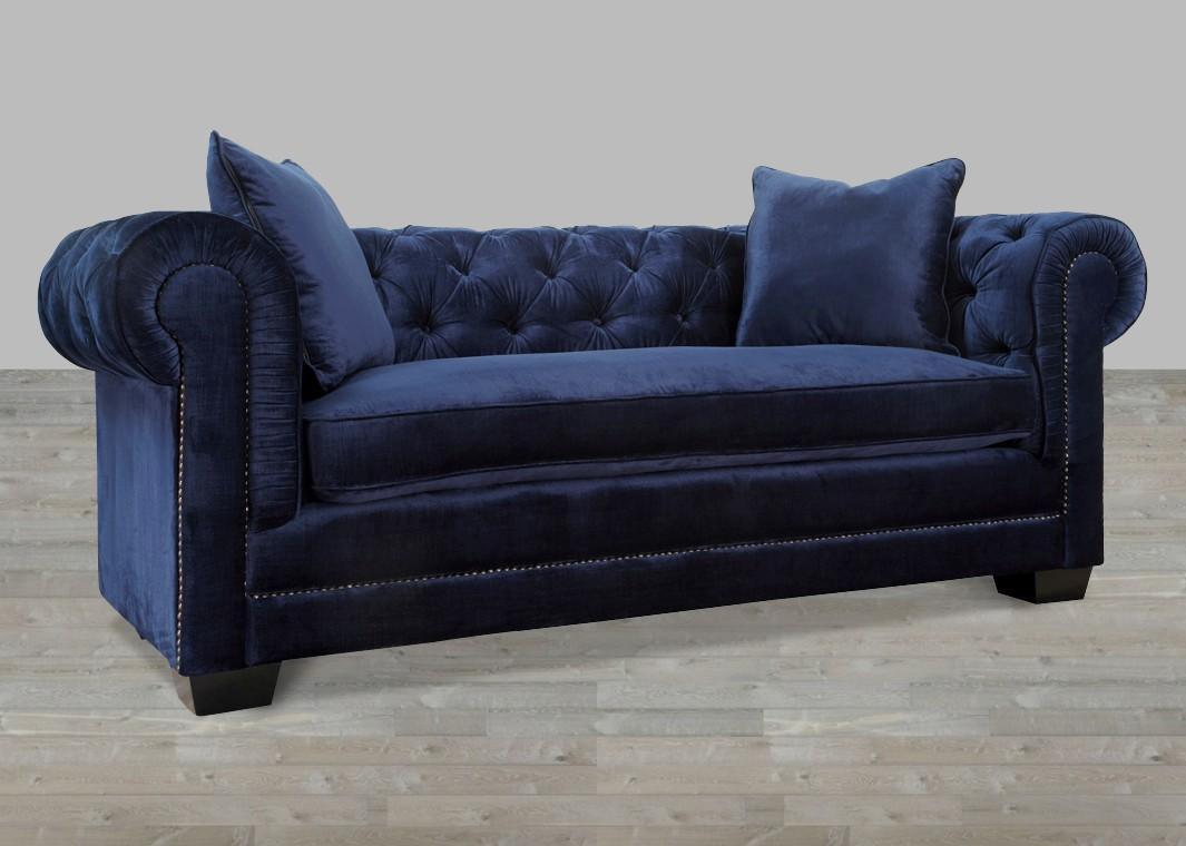Velvet sofas navy blue velvet sofa with nail heads FZBDRPG