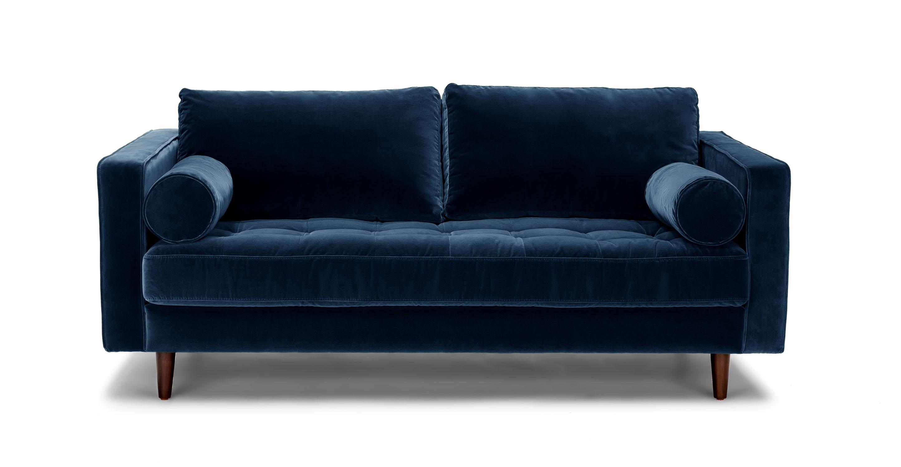Velvet sofas sven cascadia blue 72 UDGNSIU