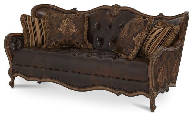 Victorian sofa Aico Furniture, Lavelle Melange leather / fabric-wood trim tufted sofa OFPAXMN