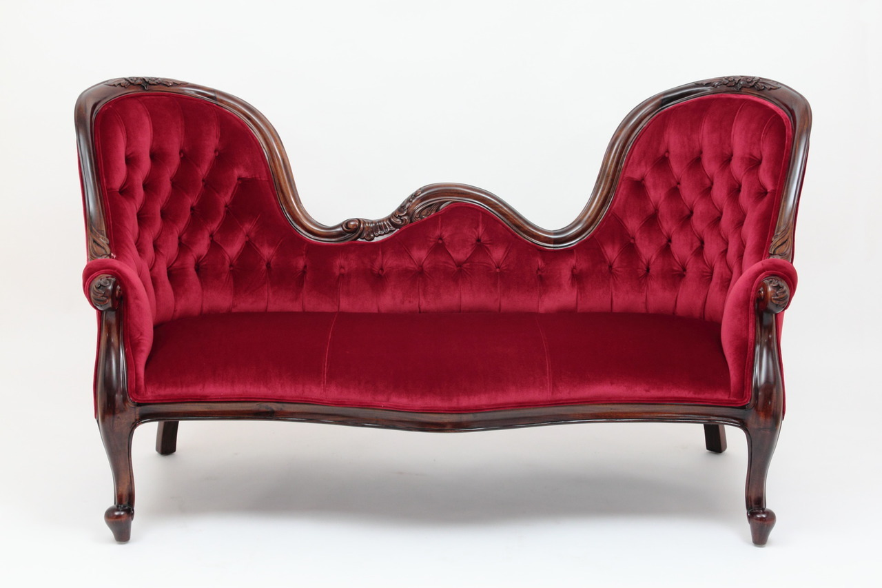 Victorian sofa with double mahogany display frame by Lorbeerkrone ATKEMPC