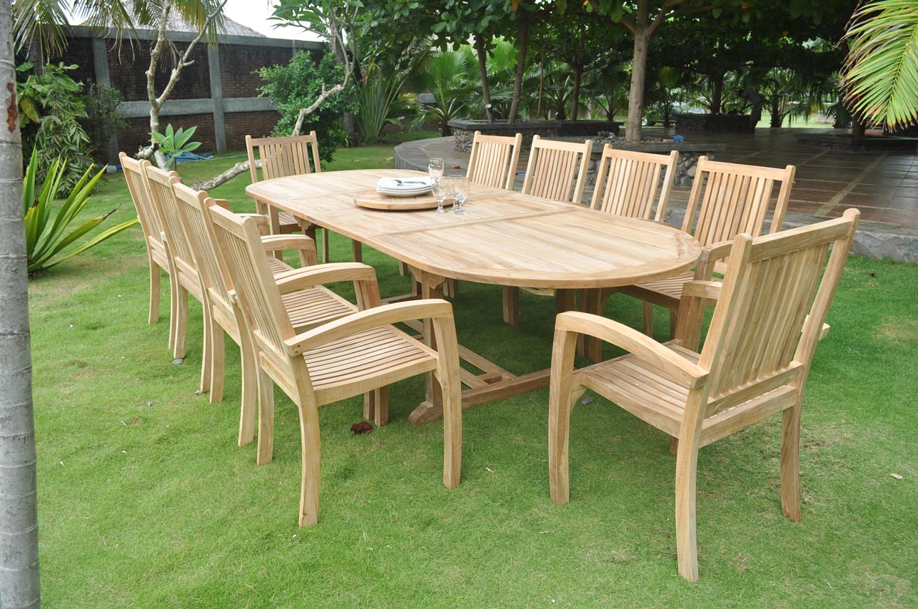 View the Full Picture 10 Seater Teak Garden Furniture Set SBXFRWH