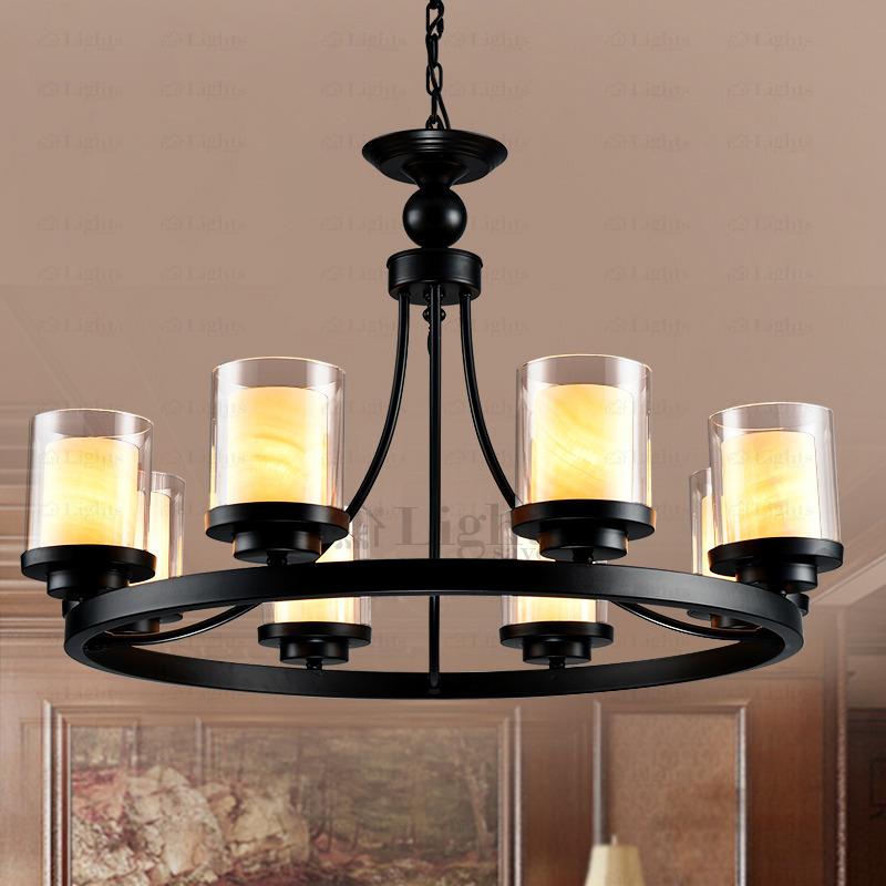 Vintage 8-lamp glass shade pillar candlestick CJOHQRC