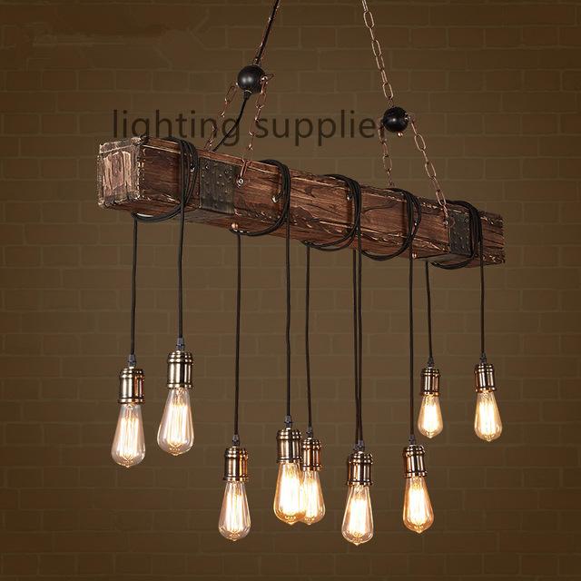 Vintage Lighting Loft Style Creative Wooden Droplight Edison Vintage Pendant Lights for WJTPZXE