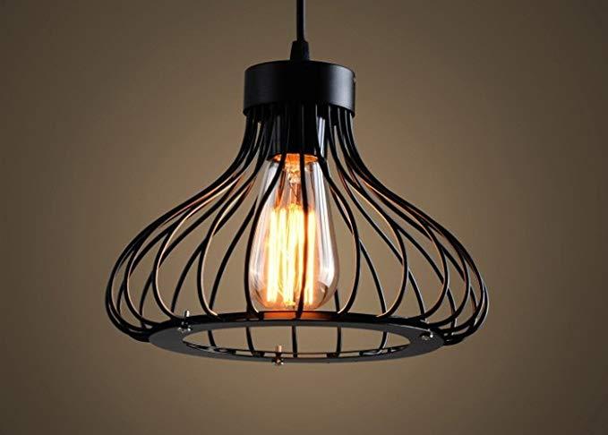 Vintage Lighting Vintage Art Cage Pendant Light Iron Black E27 Socket Hanging Ceiling Light WTQJQMF