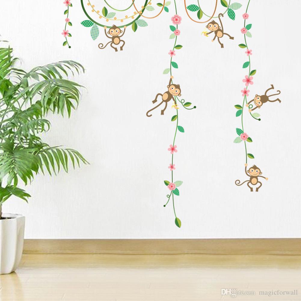 Wall decals for kids cartoon monkey climbing flower vines wall decals nursery nursery wall AORVBMW