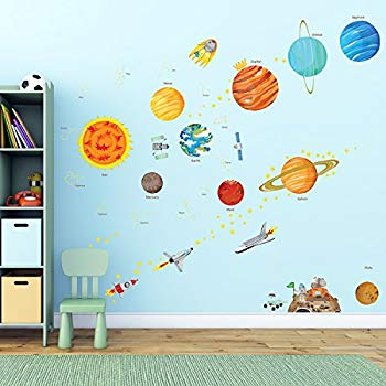 Wall decals for children decowall da-1501 the solar system Children's wall decals Peel and QWPBXIR