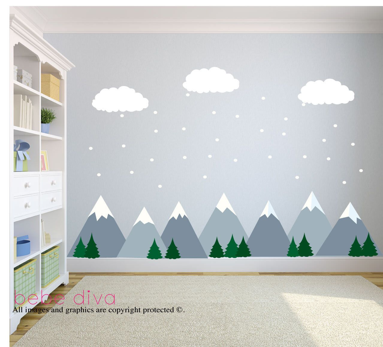 Wall decals for children, mountain wall decals, nursery wall decals, baby wall decals, children wall decals, UZFJUOL