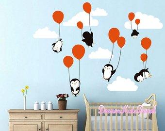 Wall decals for children penguins penguin cloud balloon wall decals, wall decals nursery, baby wall MQUSZZQ