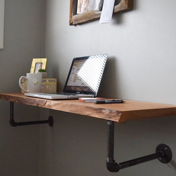 Wall desk perfect for stylish space savers, this minimalist, wall mounted, live edge desk is YLBTDBN