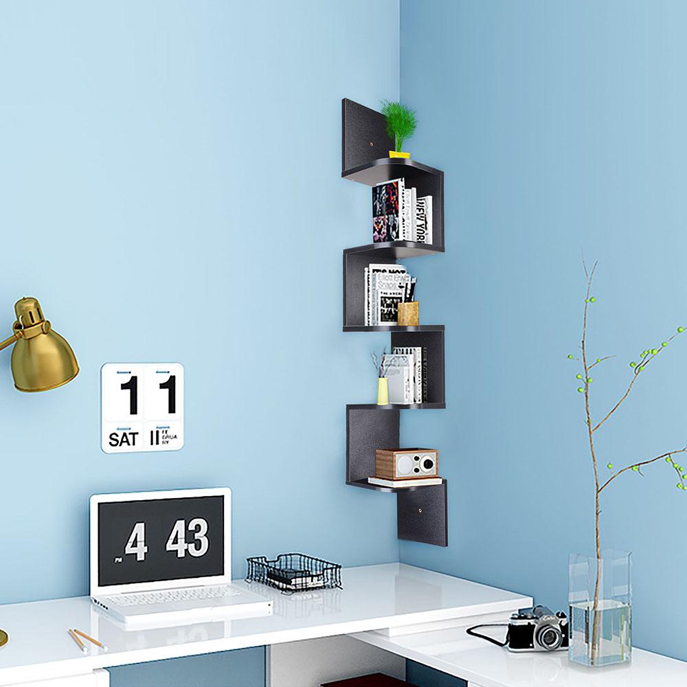 Wall-mounted corner shelf 5-tier wooden corner shelf-zig-zag-floating-HCWMZAE