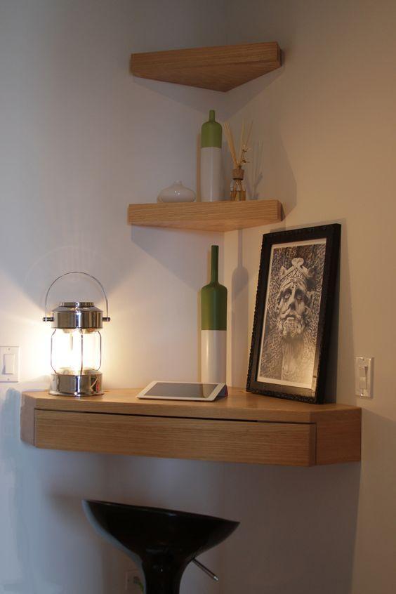 wall mounted corner shelf diy wood corner wall shelf with drawer.  IKLBLOC