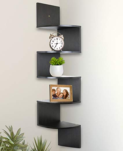 wall-mounted corner shelf greenco 5-tier wall-mounted corner shelf espresso finish