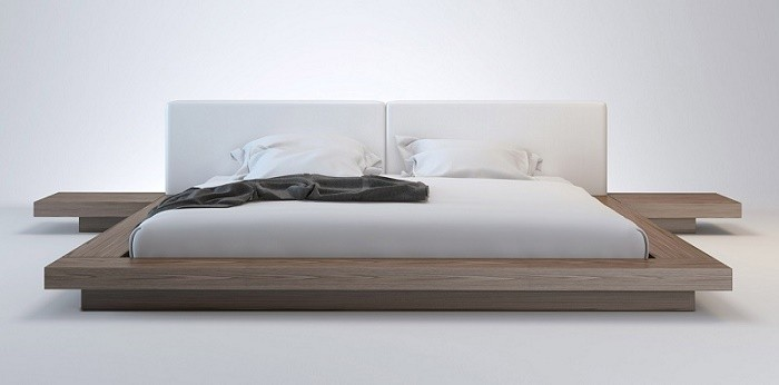 Wanda Nussbaum & white modern platform bed KYWLXVO