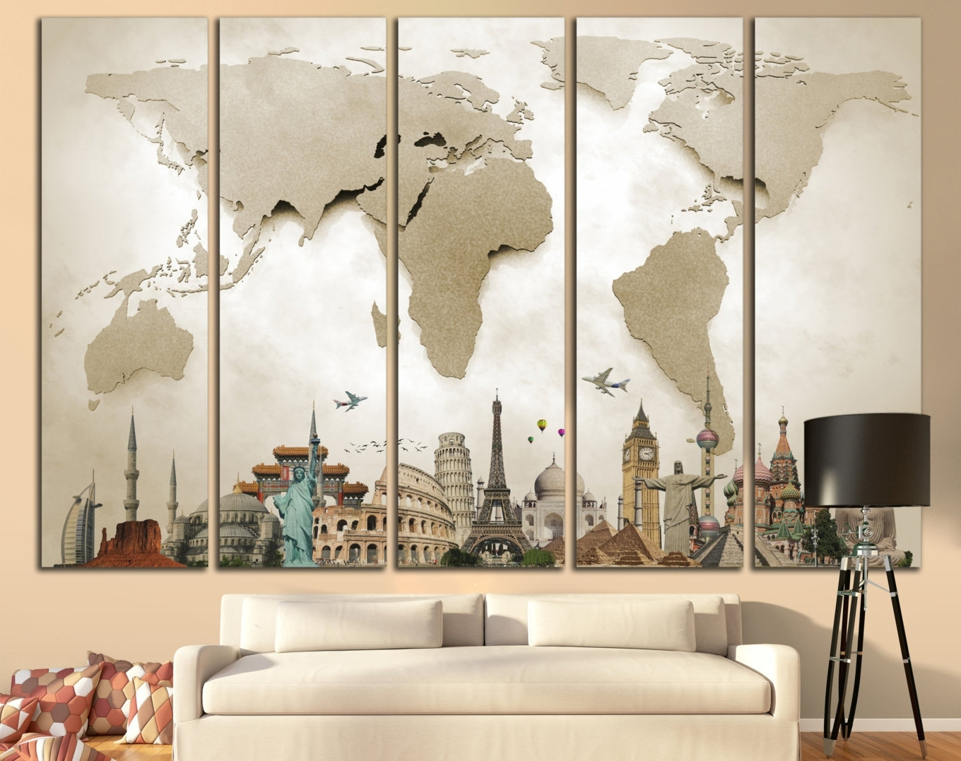 well-known murals: large murals world map large print MXHXHID