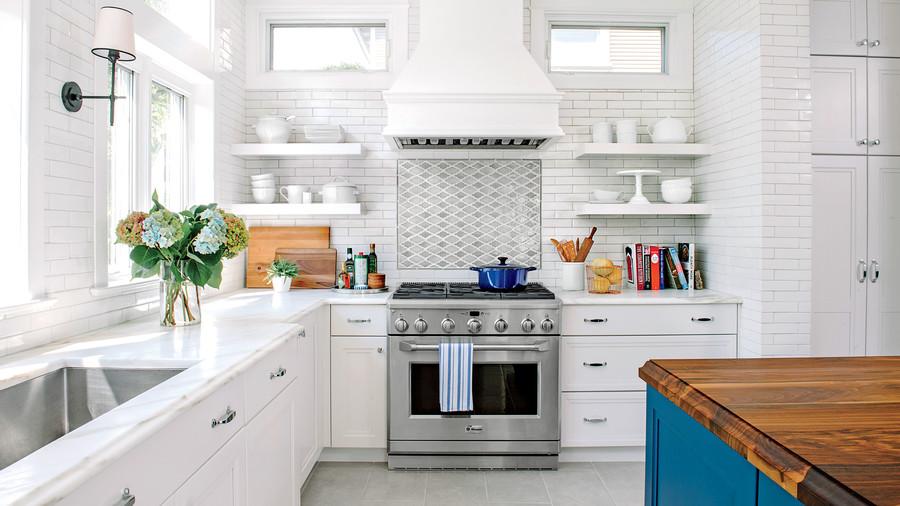 white and blue kitchen makeover XUNXXUY
